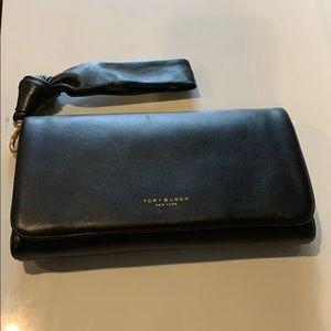 Tory Burch black leather wallet wristlet